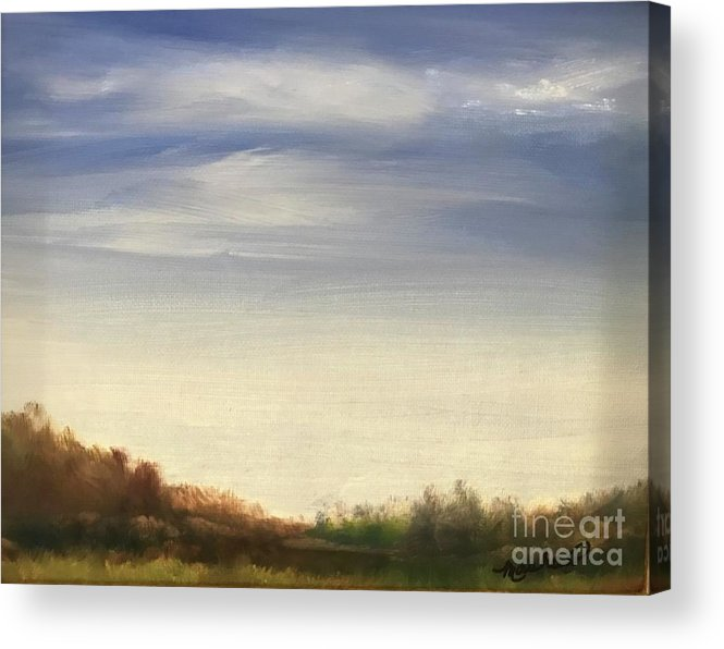 Blue Sky Landscape Acrylic Print featuring the painting Blue Sky by Sheila Mashaw