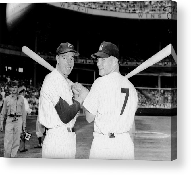 American League Baseball Acrylic Print featuring the photograph Joe Dimaggio and Mickey Mantle by New York Daily News Archive