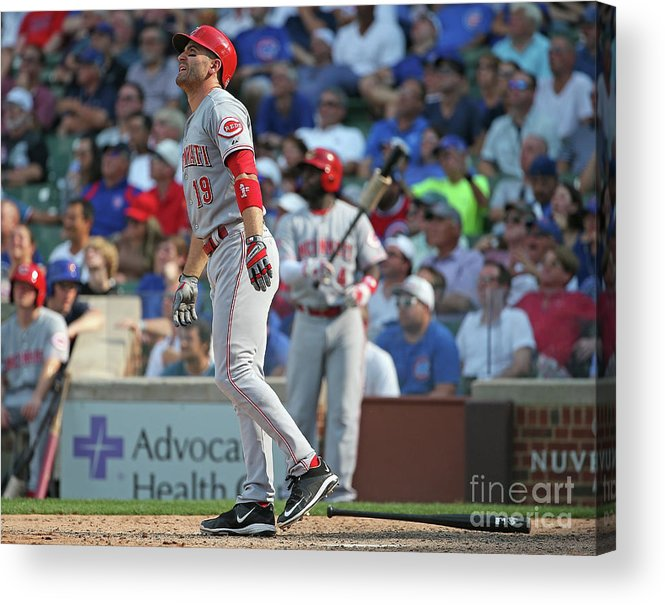 Following Acrylic Print featuring the photograph Joey Votto by Jonathan Daniel