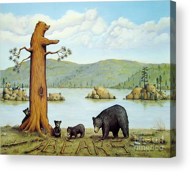 Bears Acrylic Print featuring the painting 27 Bears by Jerome Stumphauzer