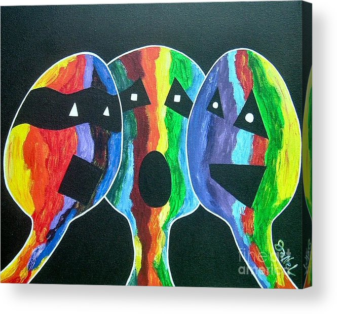 Abstract Acrylic Print featuring the painting 3- Head Singing Trio by JoNeL Art