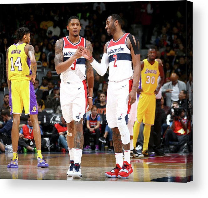 Nba Pro Basketball Acrylic Print featuring the photograph John Wall and Bradley Beal by Ned Dishman