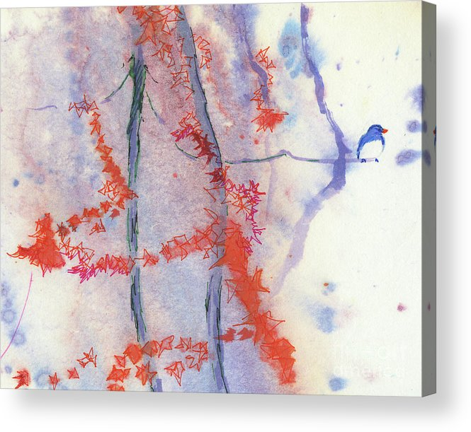 A Bird Perching Acrylic Print featuring the painting A Melody of Autumn by Mui-Joo Wee
