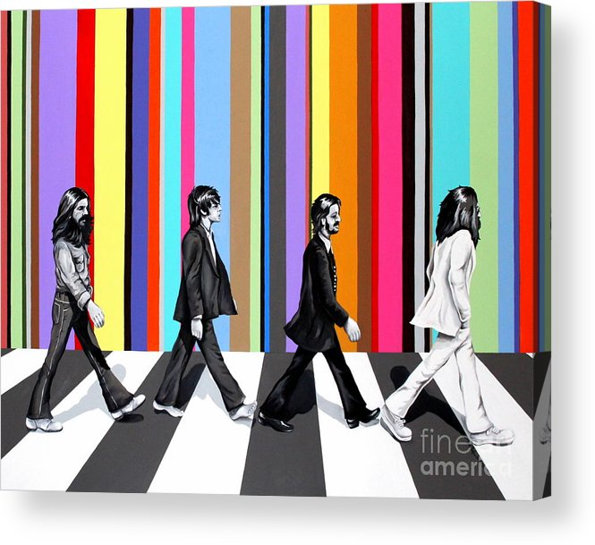 The Beatles Acrylic Print featuring the painting Abbey Road Technicolor by Amy Belonio