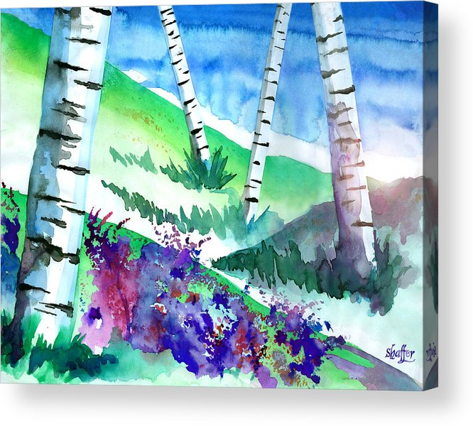 Watercolor Acrylic Print featuring the painting Birch Trees by Curtiss Shaffer