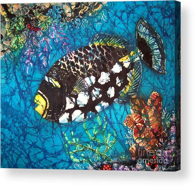 Clown Acrylic Print featuring the painting Clown Triggerfish by Sue Duda