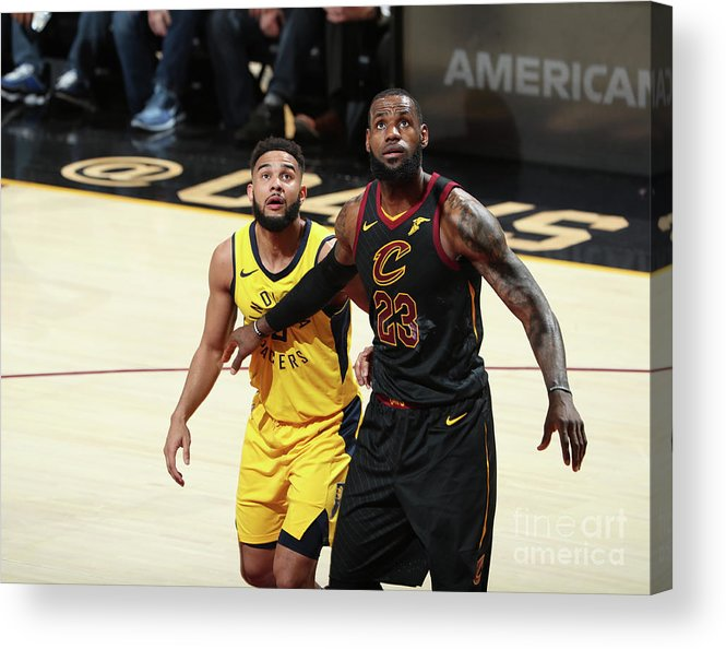 Playoffs Acrylic Print featuring the photograph Cory Joseph and Lebron James by Nathaniel S. Butler