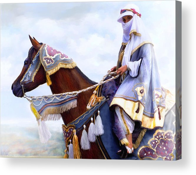 Horse Acrylic Print featuring the painting Desert Arabian Native Costume Horse And Girl Rider by Connie Moses