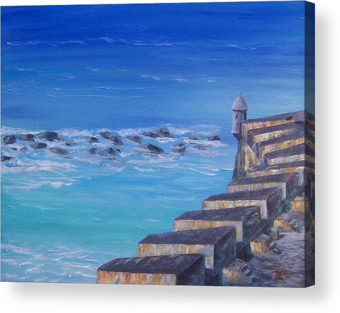 El Morro Fortress Acrylic Print featuring the painting El Morro Fortress by Tony Rodriguez