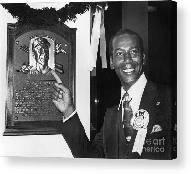 People Acrylic Print featuring the photograph Ernie Banks by National Baseball Hall Of Fame Library