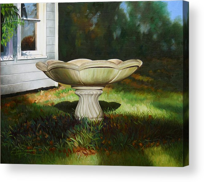 Concrete Fountain Acrylic Print featuring the painting Fall Afternoon by Gary Hernandez