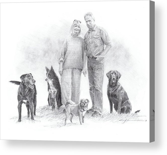 Www.miketheuer.comfamily Parents And Dogs Pencil Portrait Acrylic Print featuring the drawing Family Parents And Dogs by Mike Theuer