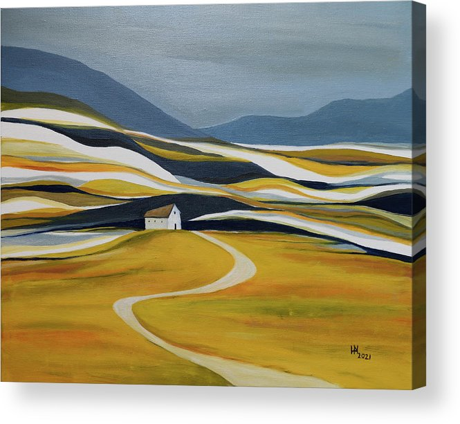 Landscape Acrylic Print featuring the painting Far Away From the Crowd by Aniko Hencz