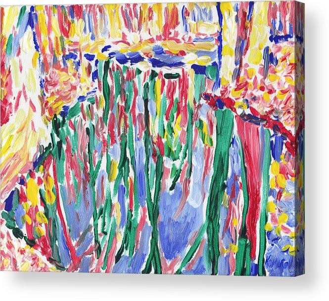 River Acrylic Print featuring the painting Forest river reflection oil painting on canvas, colorful psychedelic trees water landscape by Vitali Komarov