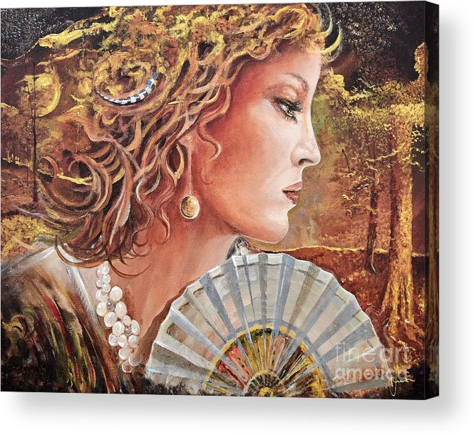 Female Portrait Acrylic Print featuring the painting Golden Wood by Sinisa Saratlic
