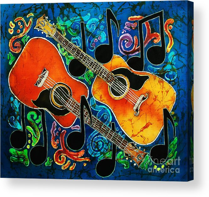 Guitars Acrylic Print featuring the tapestry - textile Guitars by Sue Duda