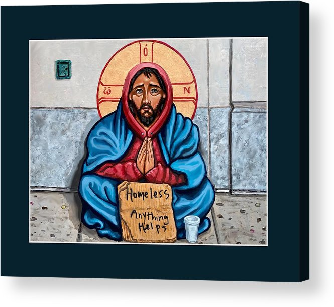 Acrylic Print featuring the painting Homeless Christ by Kelly Latimore