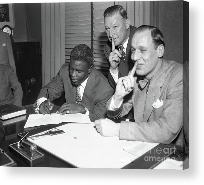 1950-1959 Acrylic Print featuring the photograph Jackie Robinson and Leo Durocher by Transcendental Graphics