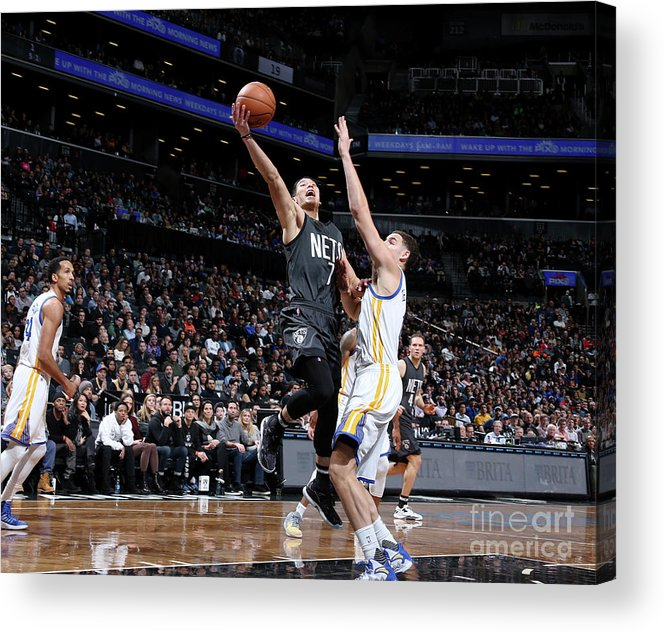 Nba Pro Basketball Acrylic Print featuring the photograph Jeremy Lin and Klay Thompson by Nathaniel S. Butler