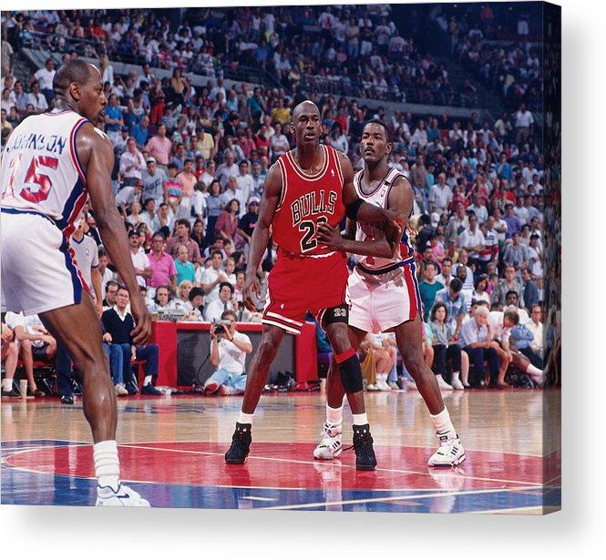 Chicago Bulls Acrylic Print featuring the photograph Joe Dumars and Michael Jordan by Allen Einstein