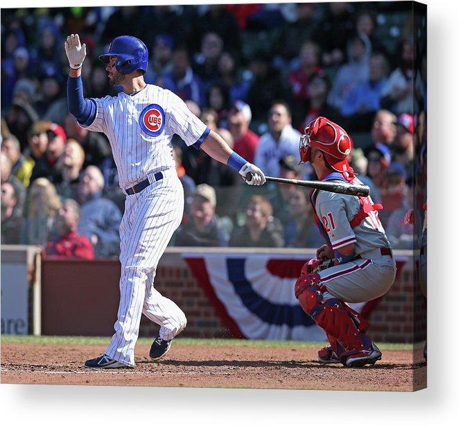 National League Baseball Acrylic Print featuring the photograph Justin Ruggiano by Jonathan Daniel