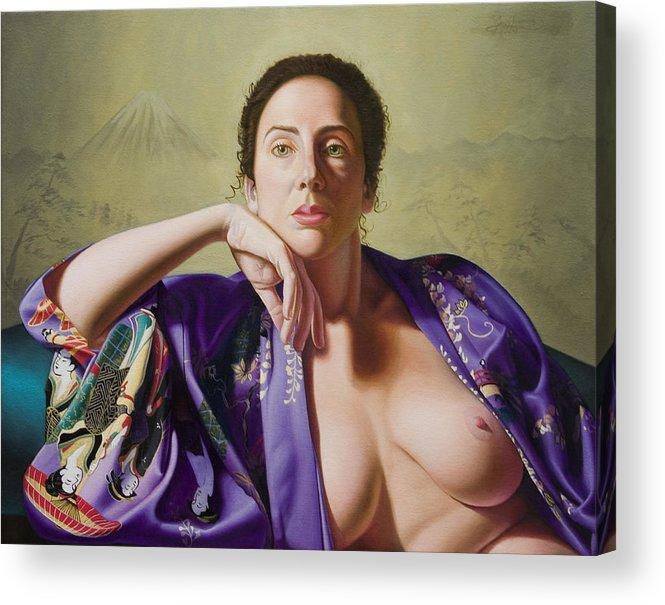Purple Silk Kimono Acrylic Print featuring the painting Kimono by Gary Hernandez