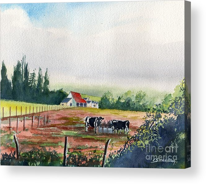 Forest Acrylic Print featuring the painting Landscape in Normandie by Christian Simonian