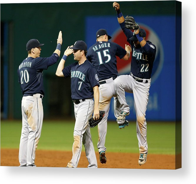 People Acrylic Print featuring the photograph Logan Morrison, Seth Smith, and Kyle Seager by Kirk Irwin