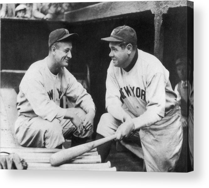 1930-1939 Acrylic Print featuring the photograph Lou Gehrig and Babe Ruth by Mpi
