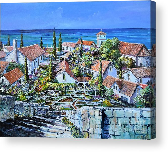 Original Painting Acrylic Print featuring the painting Mediterraneo by Sinisa Saratlic