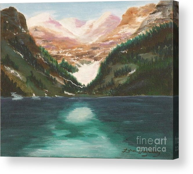 Mendenhall Glacier Acrylic Print featuring the painting Mendenhall Glacier Alaska by Lora Duguay