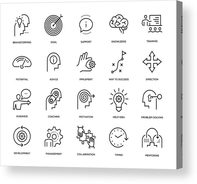 Expertise Acrylic Print featuring the drawing Mentoring Icon Set by Enis Aksoy