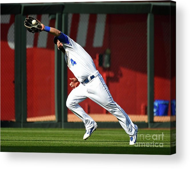People Acrylic Print featuring the photograph Michael Conforto and Alex Gordon by Ed Zurga