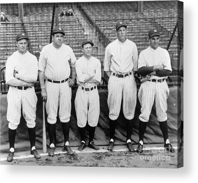 American League Baseball Acrylic Print featuring the photograph Miller Huggins and Babe Ruth by National Baseball Hall Of Fame Library
