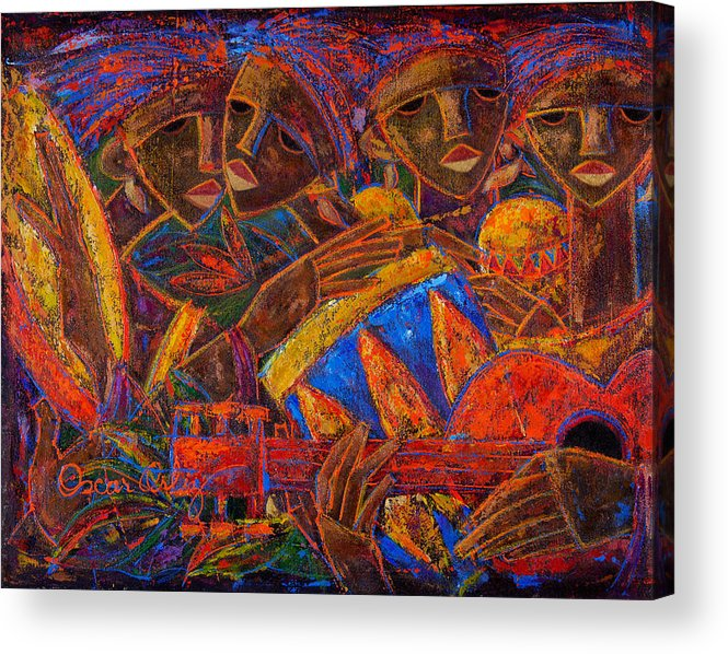 Puerto Rico Acrylic Print featuring the painting Musas Del Caribe by Oscar Ortiz