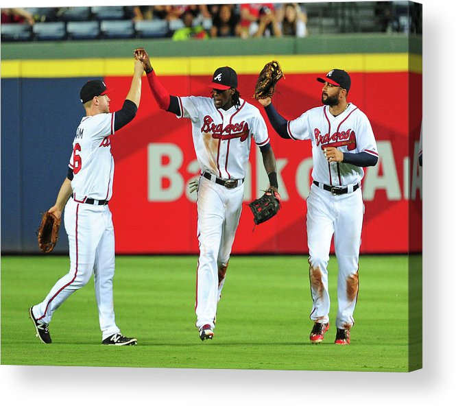Atlanta Acrylic Print featuring the photograph Nick Markakis and Cameron Maybin by Scott Cunningham