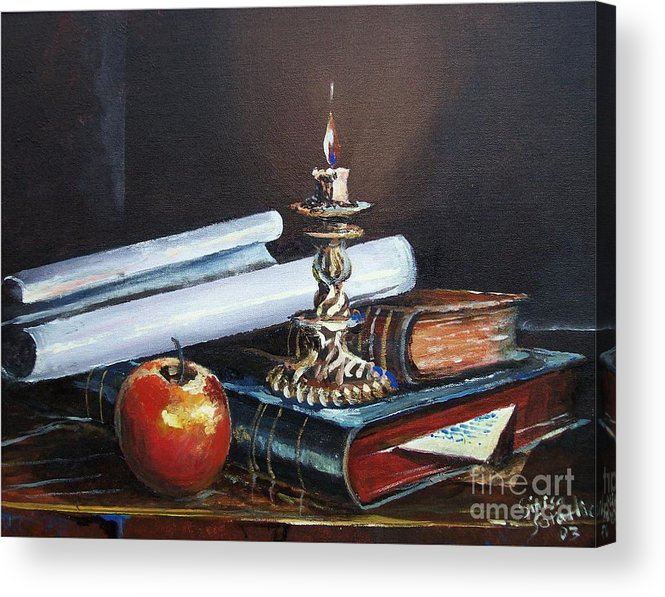 Original Painting Acrylic Print featuring the painting Old Books by Sinisa Saratlic