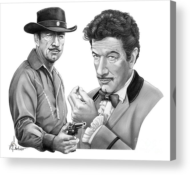 Pencil Acrylic Print featuring the drawing Paladin-Have Gun Will Travel by Murphy Elliott
