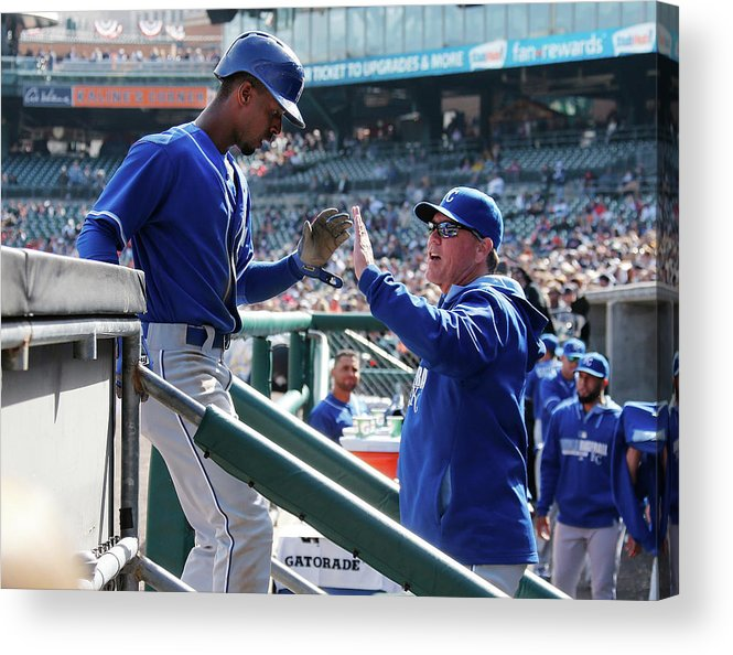 Ninth Inning Acrylic Print featuring the photograph Pedro Ciriaco and Ned Yost by Gregory Shamus