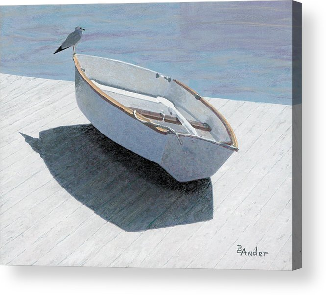 Seagull Acrylic Print featuring the drawing Perch by Brent Ander