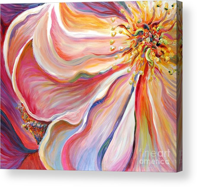 Pink Poppy Acrylic Print featuring the painting Pink Poppy by Nadine Rippelmeyer