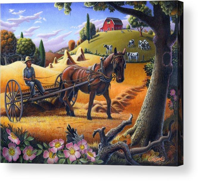 Raking Hay Acrylic Print featuring the painting Raking Hay Field Rustic Country Farm Folk Art Landscape by Walt Curlee