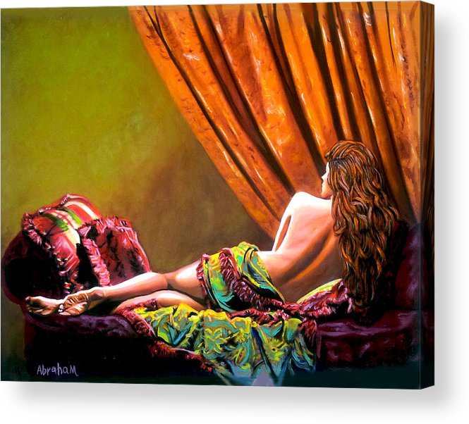 Cubanwomen Acrylic Print featuring the painting Red Hair by Jose Manuel Abraham