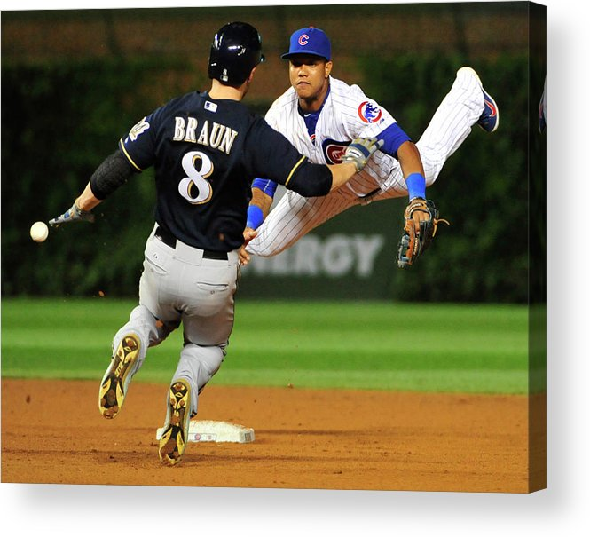 Ninth Inning Acrylic Print featuring the photograph Ryan Braun and Starlin Castro by David Banks