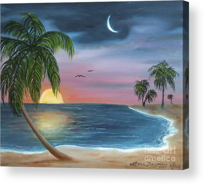 Moonrise Acrylic Print featuring the painting Sailors Moon by Lora Duguay