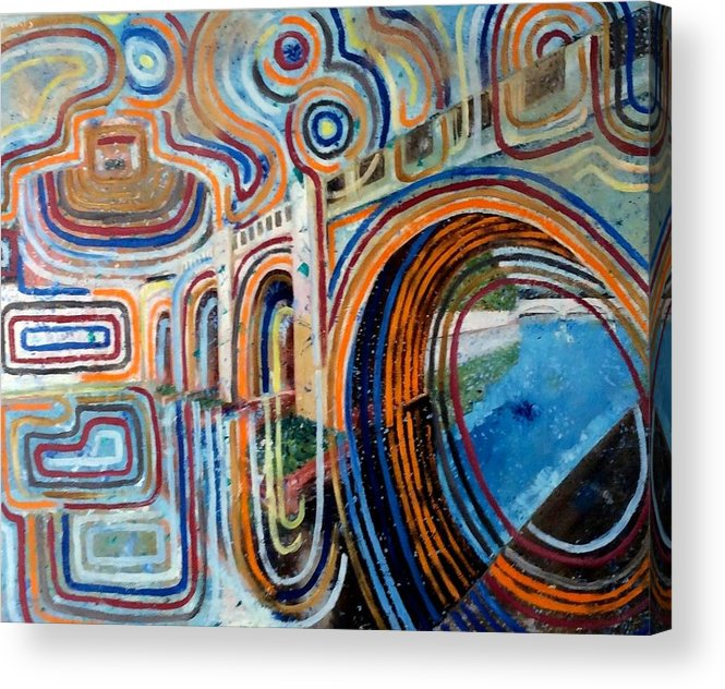 Abstract Construction Of Bridge Acrylic Print featuring the painting SanGandolfo by Biagio Civale