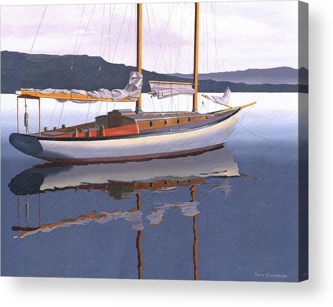 Schooner Acrylic Print featuring the painting Schooner at dusk by Gary Giacomelli