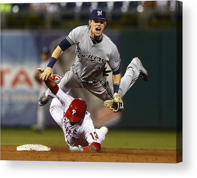 Double Play Acrylic Print featuring the photograph Scooter Gennett and Freddy Galvis by Rich Schultz