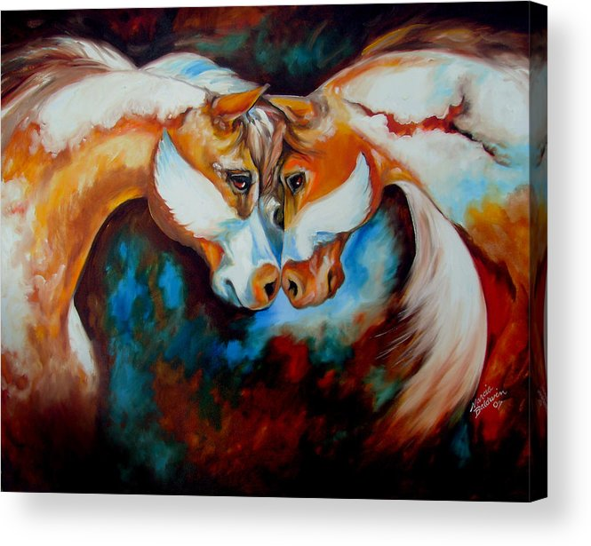 Horse Acrylic Print featuring the painting Spirit Eagle 2007 by Marcia Baldwin