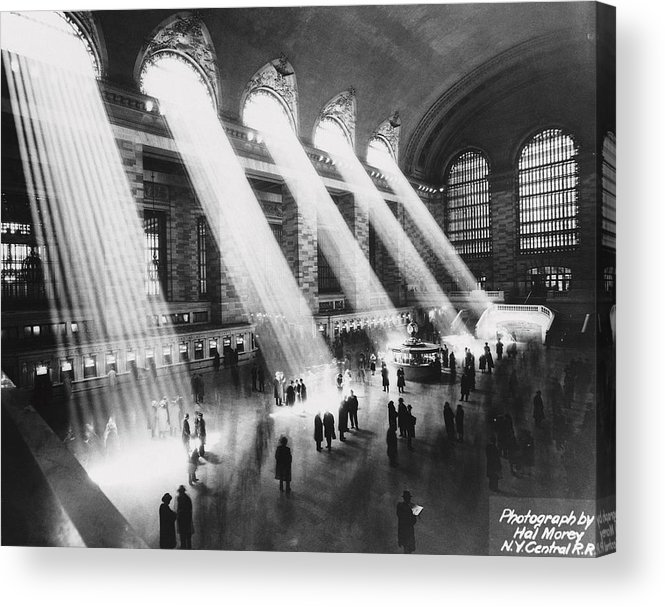 Architectural Feature Acrylic Print featuring the photograph Sun Beams Into Grand Central Station by Hal Morey